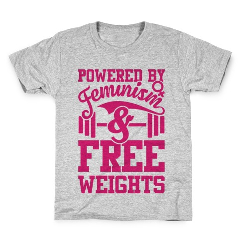 Powered By Feminism And Free Weights Kids T-Shirt