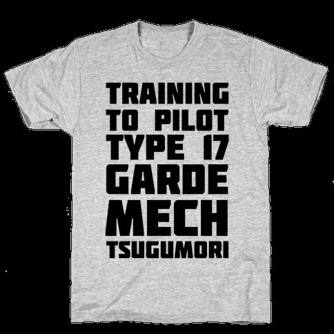 Training to Pilot Type 17 Garde Mech Tsugumori Mens T-Shirt