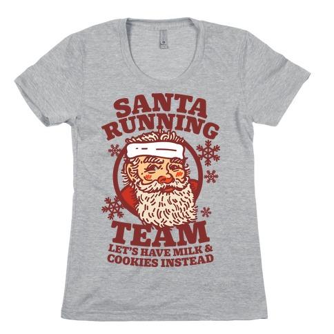 Santa Running Team Womens T-Shirt