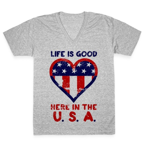 Life is Good in the USA V-Neck Tee Shirt