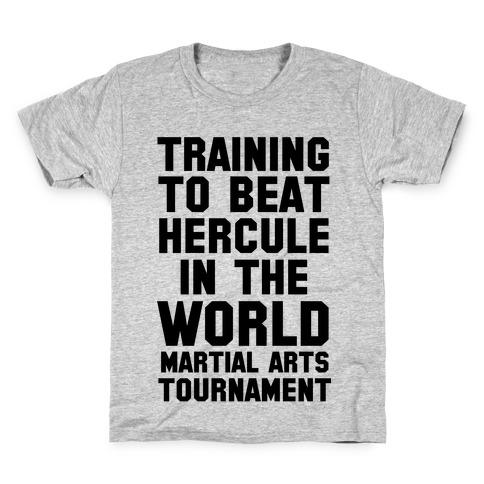 Training to Beat Hercule in the World Martial Arts Tournament Kids T-Shirt