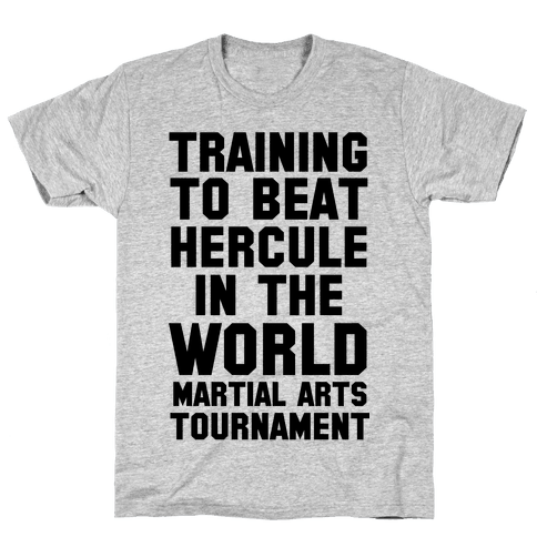 Training to Beat Hercule in the World Martial Arts Tournament Mens T-Shirt