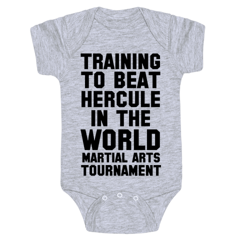 Training to Beat Hercule in the World Martial Arts Tournament Baby Onesy