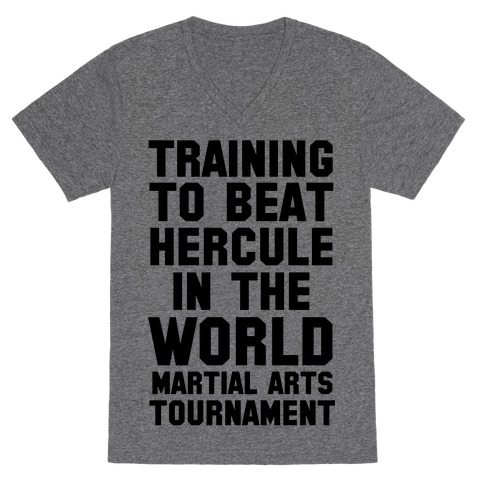 Training to Beat Hercule in the World Martial Arts Tournament V-Neck Tee Shirt