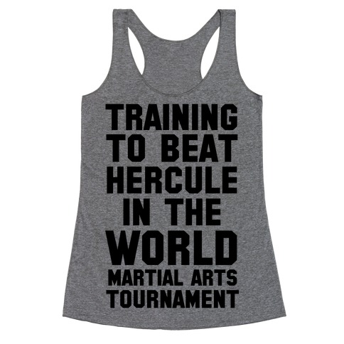 Training to Beat Hercule in the World Martial Arts Tournament Racerback Tank Top