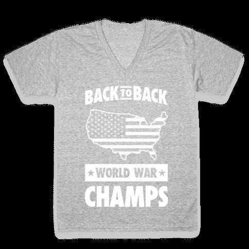 Back to Back World War Champs (light print) V-Neck Tee Shirt