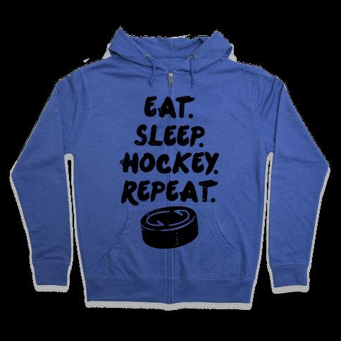 Eat Sleep Hockey Zip Hoodie