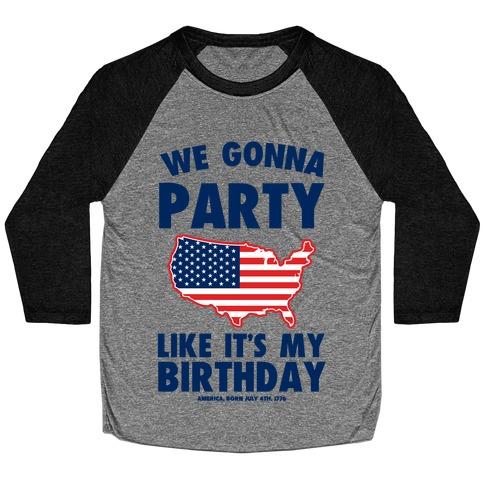 Merican Birthday Party Baseball Tee