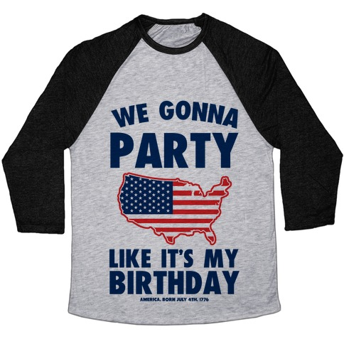 Merican Birthday Party Baseball Tee
