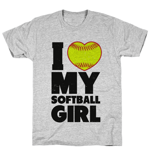 I Love My Softball Girl (Baseball Shirt) Mens T-Shirt