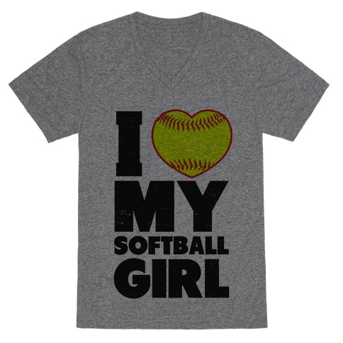 I Love My Softball Girl (Baseball Shirt) V-Neck Tee Shirt