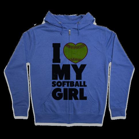 I Love My Softball Girl (Baseball Shirt) Zip Hoodie