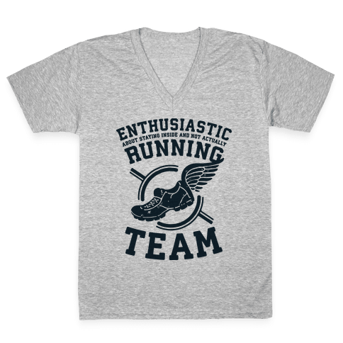 Enthusiastic Running Team V-Neck Tee Shirt