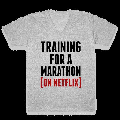 Training for a Marathon (On Netflix) V-Neck Tee Shirt