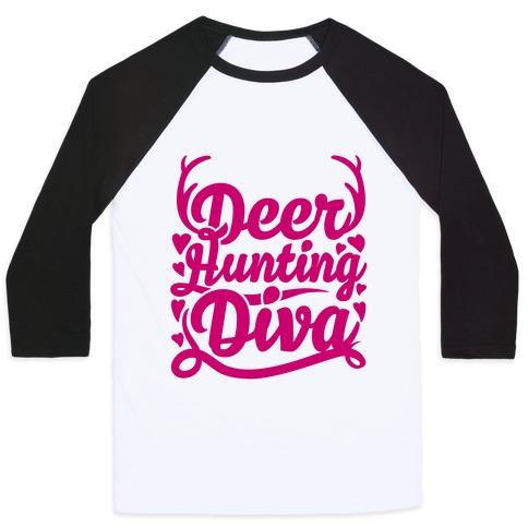 Deer Hunting Diva Baseball Tee