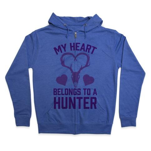 My Heart Belongs To A Hunter Zip Hoodie