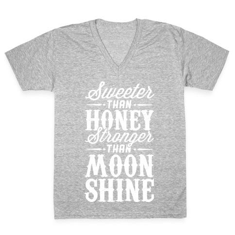 Sweeter Than Honey, Stronger Than Moonshine V-Neck Tee Shirt
