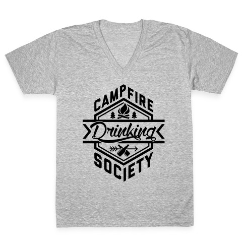 Campfire Drinking Society V-Neck Tee Shirt