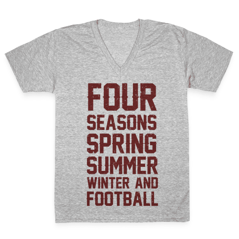 Four Seasons Spring Summer Winter And Football V-Neck Tee Shirt