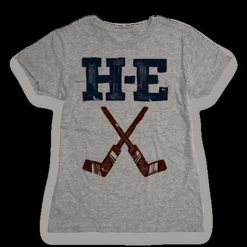 H E Double Hockey Sticks (Hell) Womens T-Shirt