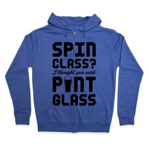 Spin Class Pint Glass Zip Hoodie