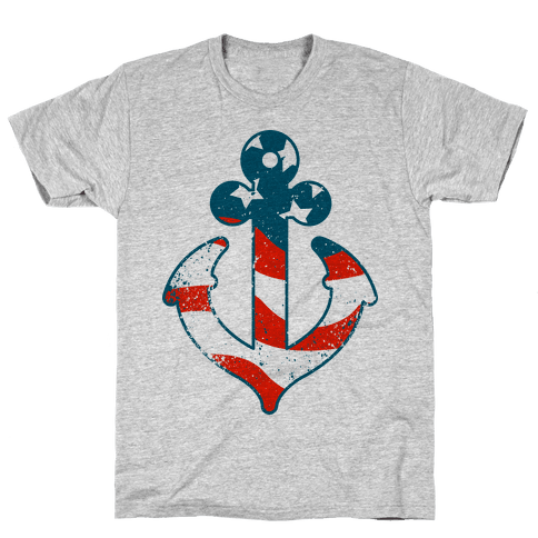 American Anchor (Navy Raglan) Mens T-Shirt