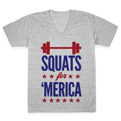 Squats For Merica V-Neck Tee Shirt
