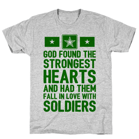 God Found The Strongest Hearts (Army Baseball Tee) Mens/Unisex T-Shirt