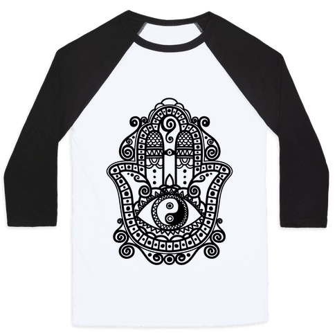 Peaceful Hamsa Hand Baseball Tee