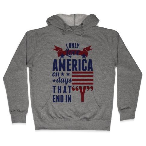 I Love America On Days That End In Y (Patriotic Hoodie) Hooded Sweatshirt
