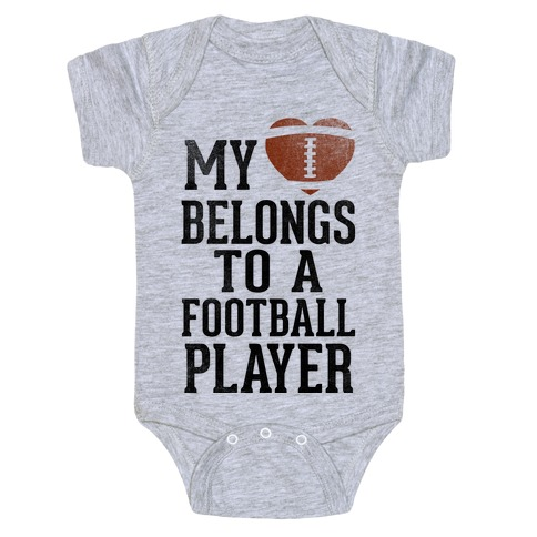 My Heart Belongs to a Football Player (Baseball Tee) Baby Onesy