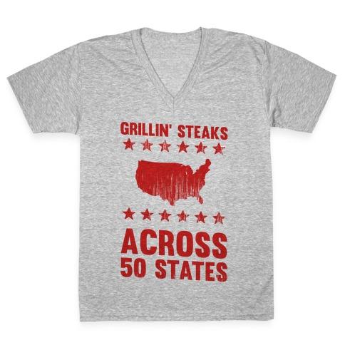 Grillin' Steaks Across 50 States V-Neck Tee Shirt
