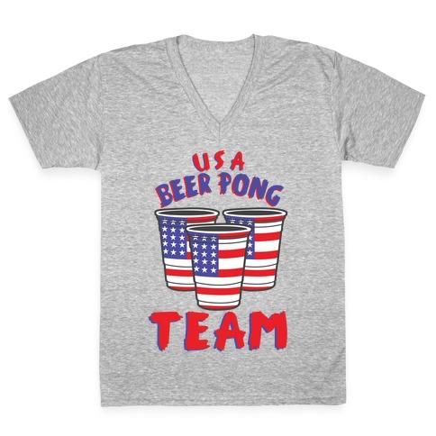 USA Beer Pong Team V-Neck Tee Shirt
