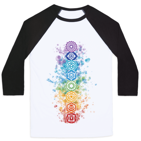 Watercolor Chakra Symbols Baseball Tee