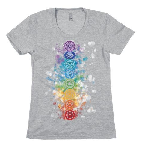 Watercolor Chakra Symbols Womens T-Shirt