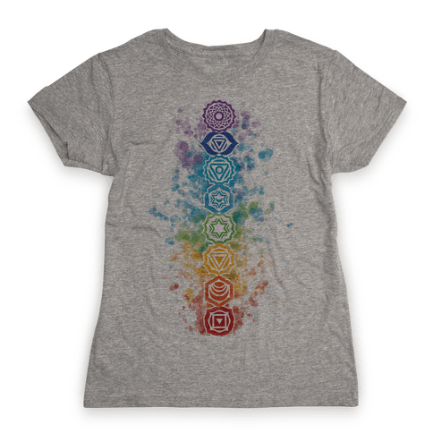 Watercolor Chakra Symbols Womens T-Shirt