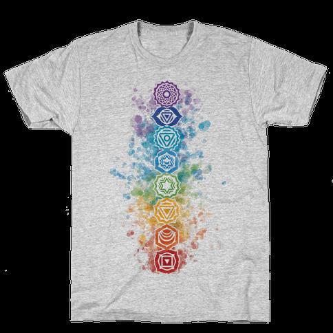 Watercolor Chakra Symbols Mens/Unisex T-Shirt