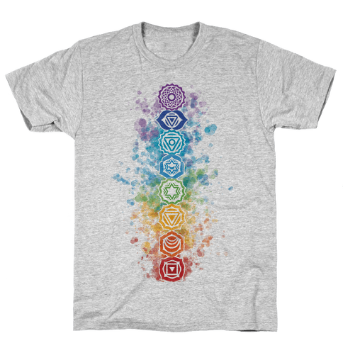 Watercolor Chakra Symbols Mens/Unisex T-Shirt