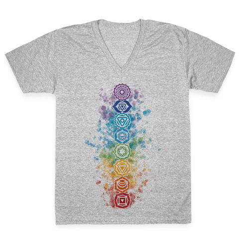 Watercolor Chakra Symbols V-Neck Tee Shirt