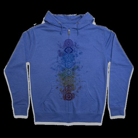 Watercolor Chakra Symbols Zip Hoodie