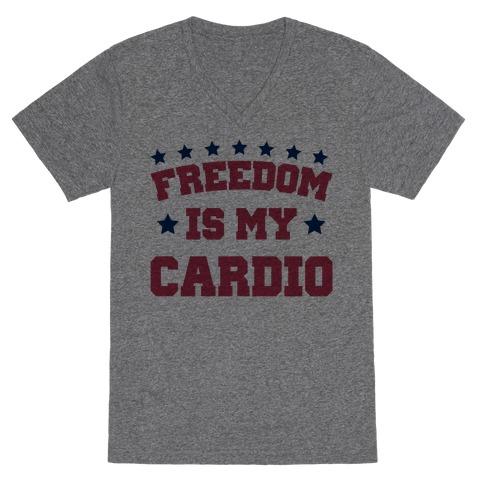 Freedom Is My Cardio V-Neck Tee Shirt