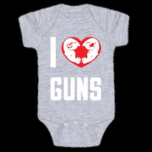 I Heart Guns Baby Onesy