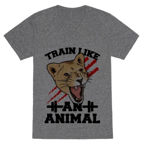 Train Like an Animal (athletic) V-Neck Tee Shirt