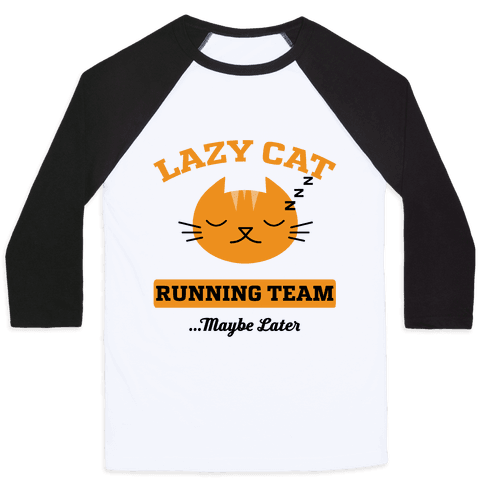 Lazy Cat Running Team Baseball Tee