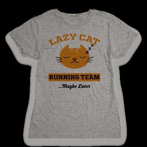 Lazy Cat Running Team Womens T-Shirt