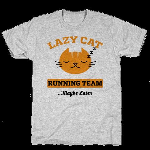 Lazy Cat Running Team Mens T-Shirt