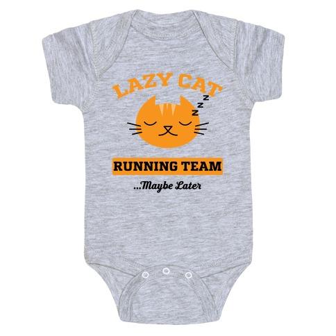 Lazy Cat Running Team Baby Onesy