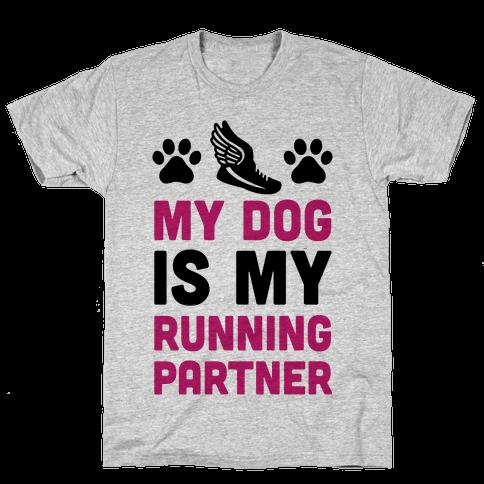 My Dog Is My Running Partner Mens T-Shirt