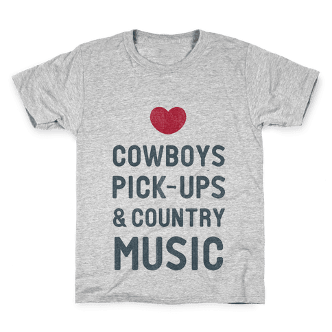 Cowboys, Pickups, and Country Music Kids T-Shirt