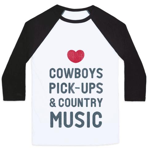 Cowboys, Pickups, and Country Music Baseball Tee